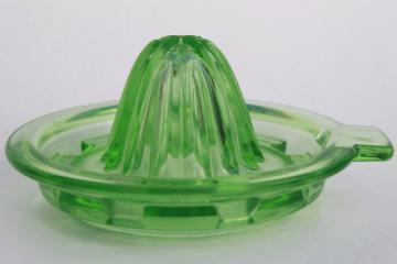1930s 40s vintage green depression glass lemon reamer / orange juicer