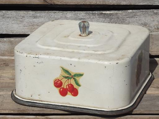 1930s 40s Vintage Metal Breadbox For Cake Plate And