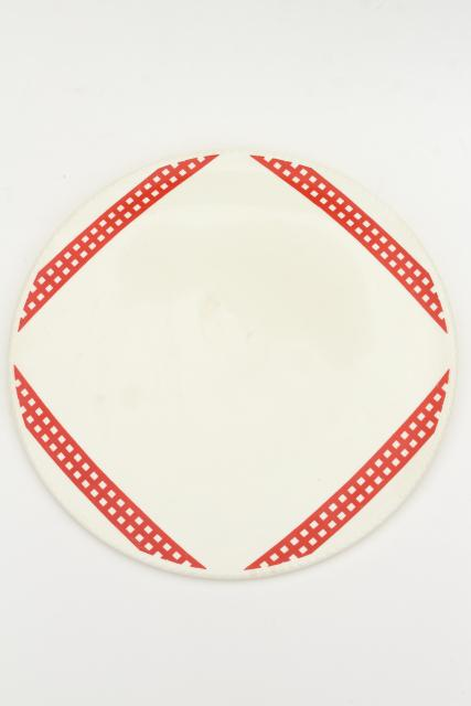 1930s 40s vintage red checked gingham china cake plate, round serving tray or platter