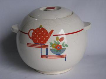 1930s - 40s vintage round ball art deco kitchenware cookie jar, Pottery Guild