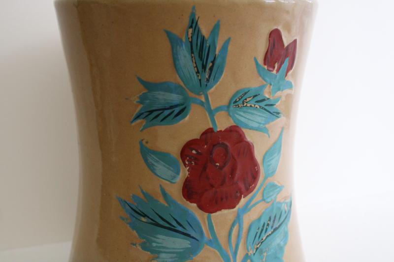 1930s 40s vintage stoneware cookie jar crock w/ painted roses, USA pottery