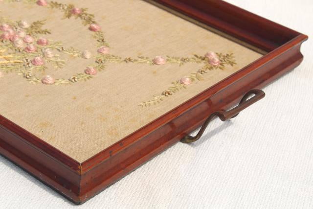 1930s 40s vintage wood tray frame w/ embroidered linen, french knots & bouillon stitch roses