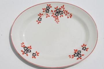 1930s art deco vintage pottery platter, red band & vines w/ black flowers kitchen china