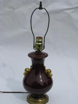1930's art deco vintage pottery table lamp, wine-maroon color