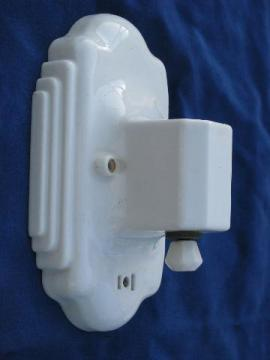 1930's art deco vintage white ironstone china wall sconce light