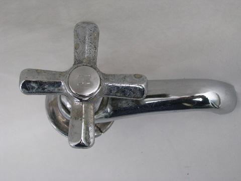 1930s chrome architectural lavatory sink faucets, Chicago Faucet Company
