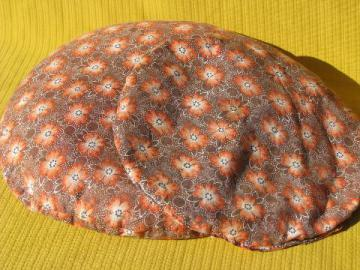 1930s cotton print fabric pillows, depression era cattail fluff fill