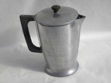 1930s deco vintage Cast-Rite heavy aluminum coffee pot covered pitcher