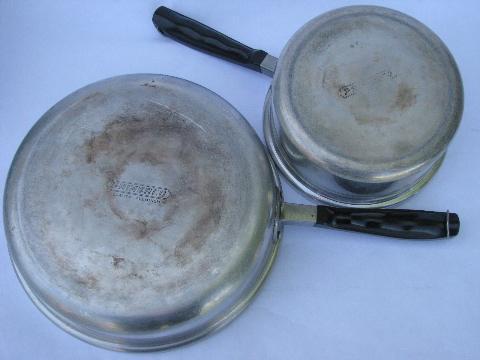 1930s Deco Vintage Aluminum Cookware Saute Amp Sauce Pans W