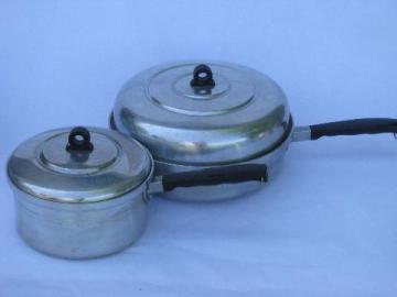1930s deco vintage aluminum cookware, saute & sauce pans w/lids