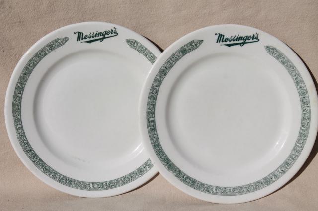 1930s gangster vintage Chicago restaurant china plates Messinger\u0027s lunch counter & 1930s gangster vintage Chicago restaurant china plates Messinger\u0027s ...