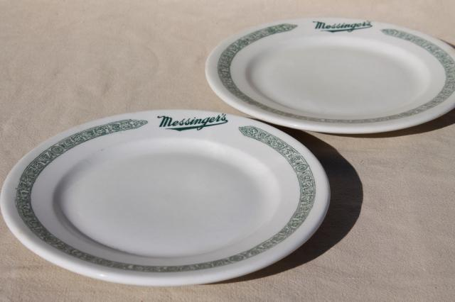 1930s gangster vintage Chicago restaurant china plates, Messinger's lunch counter