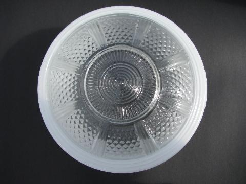 1930s glass light shade, machine age industrial washroom