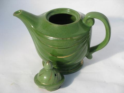 1930s jade green genie lamp teapot, vintage USA pottery tea pot