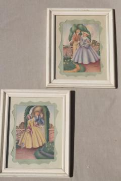 1930s or 40 vintage framed pictures, Gone With The Wind romantic prints in pastel colors