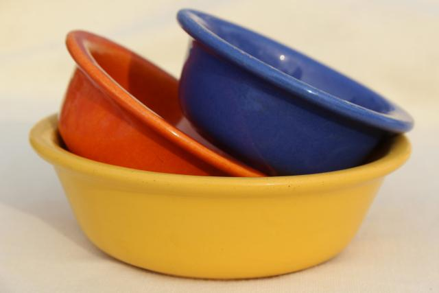 1930s or 40s vintage kitchen bowls in fiesta colors, old California pottery?