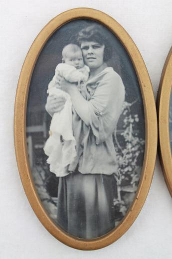 1930s or 40s vintage photos, mother & child photography baby pictures in antique frame