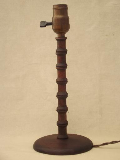 1930s Table Lamp Wood Spool Furniture Folk Art Made From