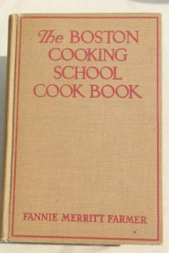 1930s vintage Boston Cooking School Cook Book, early Fanny Farmer cookbook w/ depression era ads