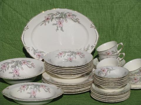& 1930s vintage Crown pottery pretty pink floral china dishes set for 6