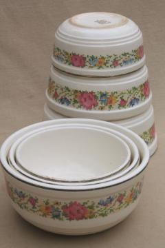 1930s vintage Harker HotOven pottery nesting mixing bowls, petit point flowers pattern