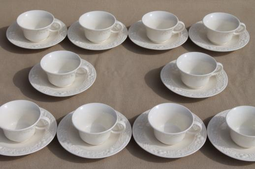 1930s vintage Homer Laughlin eggshell china, antique creamware cups & saucers embossed fruit