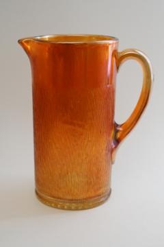 1930s vintage Jeannette carnival glass marigold orange luster, tree bark pitcher
