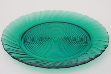 1930s vintage Jeannette ultramarine aqua blue glass cake plate or sandwich tray