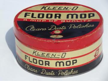 1930s vintage Kleen-O mop tin, old Good Housekeeping seal of approval