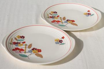 1930s vintage Knowles china art deco floral serving plates or round platter trays