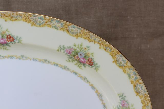1930s vintage Noritake china M mark Rosanne hand painted floral Thanksgiving turkey platter