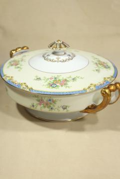 1930s vintage Noritake china covered dish or tureen, hand painted Azure pattern M mark