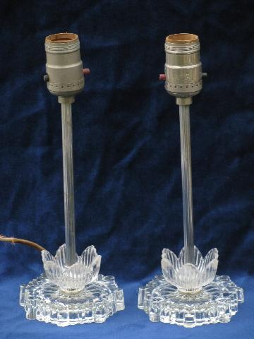1930's vintage art deco glass boudoir lamps, water lily flowers