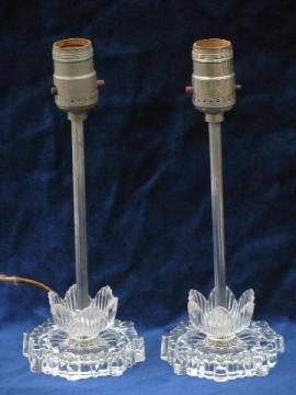 1930's vintage art deco glass boudoir lamps, water lily flowers