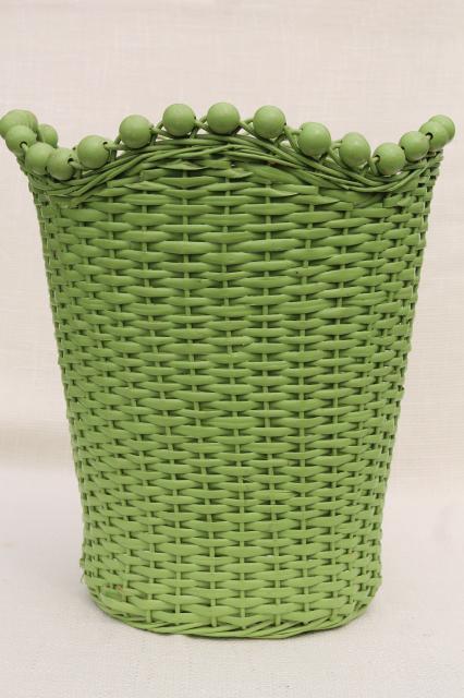 1930s vintage beaded wicker wastebasket w old jade green paint shabby cottage chic - Shabby chic wastebasket ...