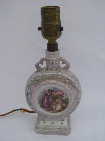 1930s vintage boudoir lamp, old painted porcelain w/ dancing nymphs, Germany