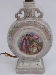 1930s vintage boudoir lamp, old painted porcelain w/ dancing nymphs, Germany