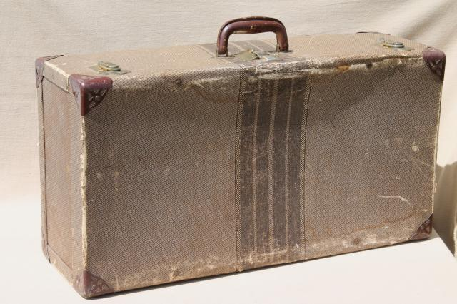 1930s vintage cardboard suitcase, shabby old depression era ...