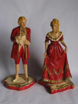 1930s vintage chalkware figures, hand-painted french colonial couple