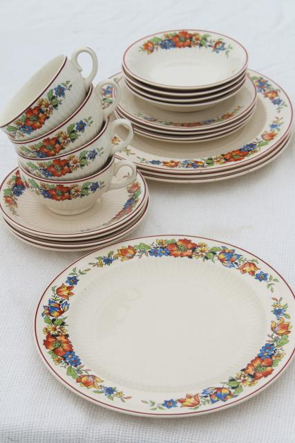 1930s Vintage China Dishes W Red Blue Tulips Flower Border Farm Country Kitchen Table