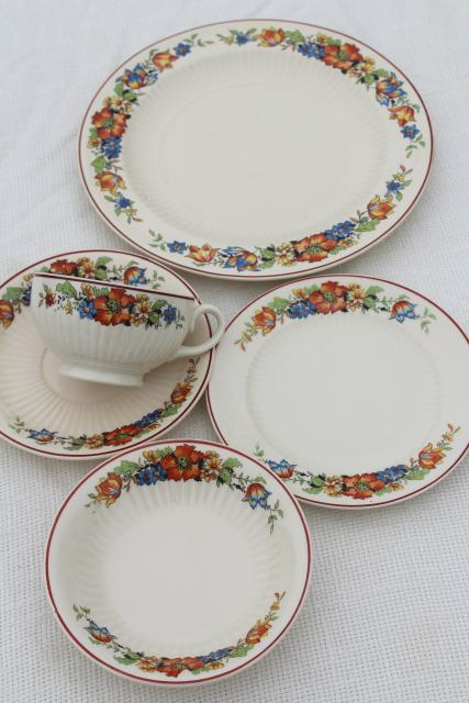 1930s vintage china dishes w/ red blue tulips flower border, farm country kitchen table ware