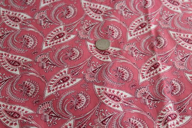 1930s vintage cotton fabric, elegant paisley type leaf print in rose pink