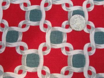 1930s vintage cotton print feedsack fabric, still sewn as feed sack