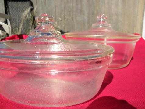 1930s vintage depression glass baking dishes, casserole pans w/ lids - early Pyrex