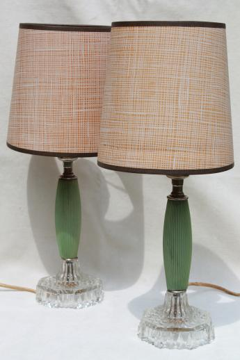 Vanity Dresser Lamp : 1930s vintage dresser lamps, jadite green celluloid & glass vanity table lamp set