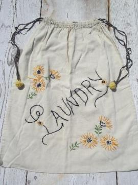 1930s vintage embroidered cotton laundry bag, old flour sack fabric
