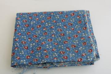 1930s vintage fabric, fine light cotton lawn w/ tiny floral print pink on blue