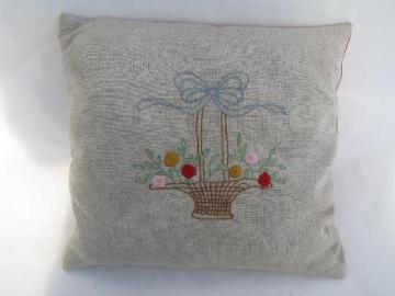 1930s vintage flower basket pillow, old embroidery on flax linen