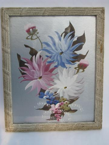 1930s Vintage Framed Floral Pictures Hand Painted Flowers On Silver