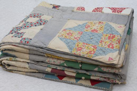 1930s Vintage Friendship Quilt W Embroidered Patchwork